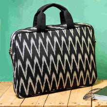Load image into Gallery viewer, Ikat Black Grey Laptop Bag Chanchal