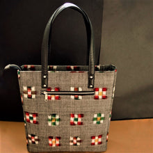 Load image into Gallery viewer, Ikat Grey Bucket Tote Bag Chanchal Handcrafted Made in India Sustainable Vegan