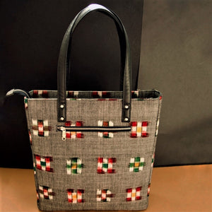 Ikat Grey Bucket Tote Bag Chanchal Handcrafted Made in India Sustainable Vegan