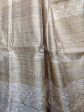Load image into Gallery viewer, Natural Beige saree tussar silk saree bell shaped woven pallu  office wear ethnic wear