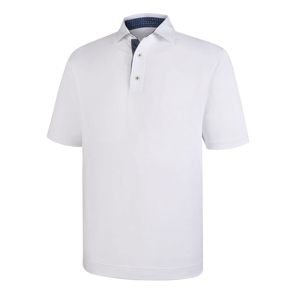 Polo Footjoy Stretch Pique With Paisley Print Trim   Self Collar