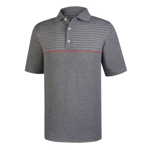 Polo Footjoy Lisle Engineered Pinstripe   Knit Collar   Athletic Fit