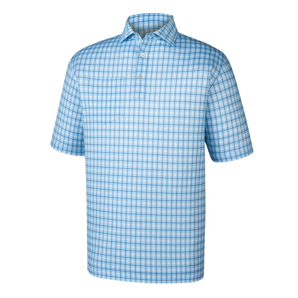 Polo Footjoy  Lisle Printed Plaid   Self Collar
