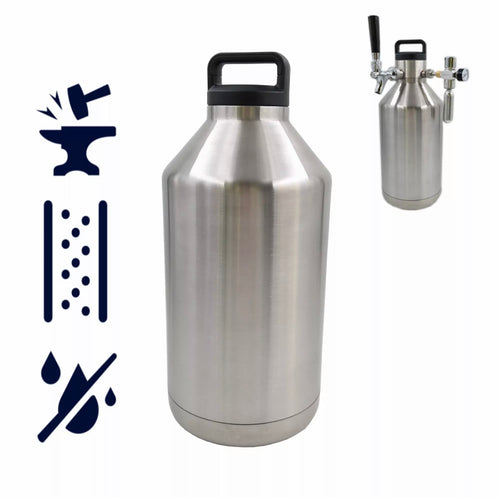 64 / 128 oz VACUUM INSULATED BEER GROWLER - KEGWERKS.IN