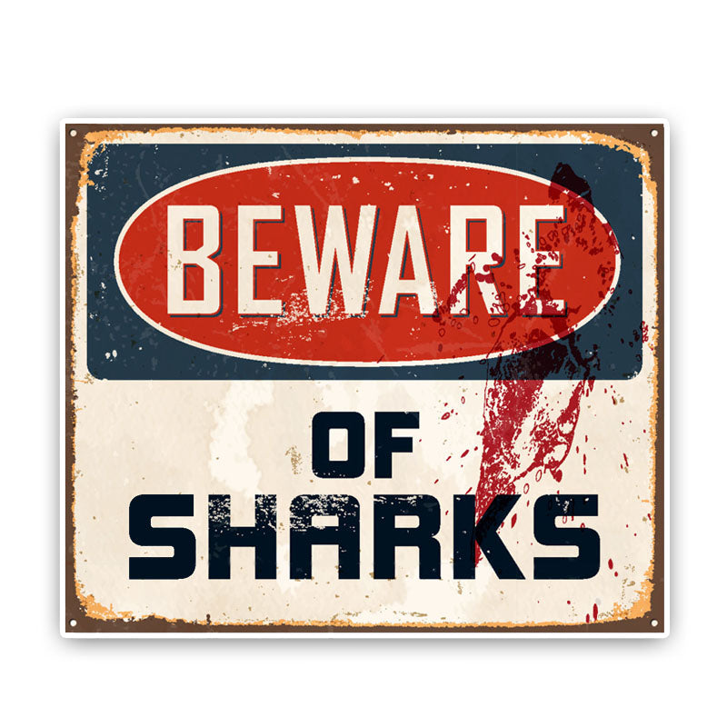 Beware Of Sharks ~ Reflective Decal