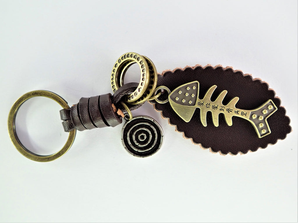 Fish Skeleton Leather Key Ring