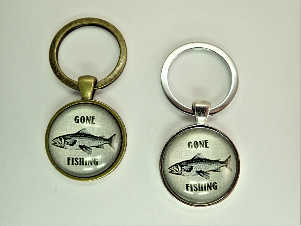 Gone Fishing ~Bronze Vintage Style Key Ring