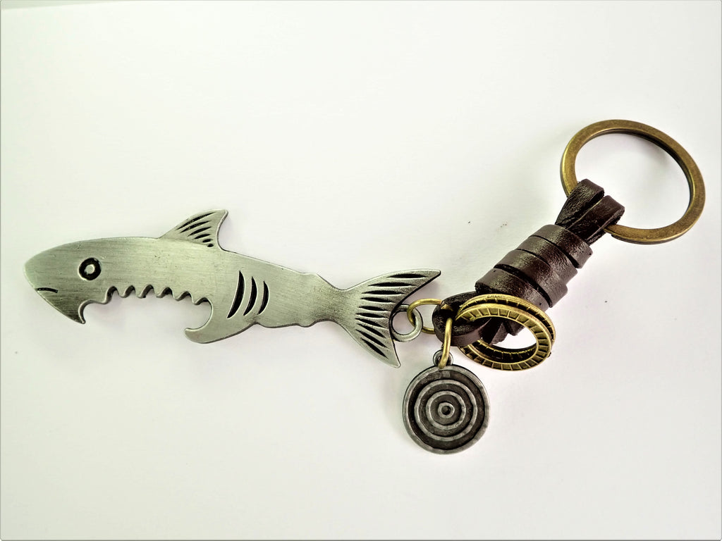 Leather Shark Key Ring Bottle Opener