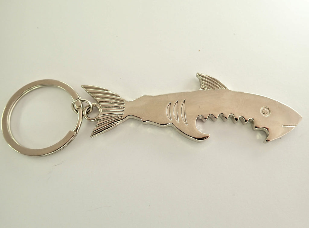 Chrome Shark Bottle Opener Key Ring
