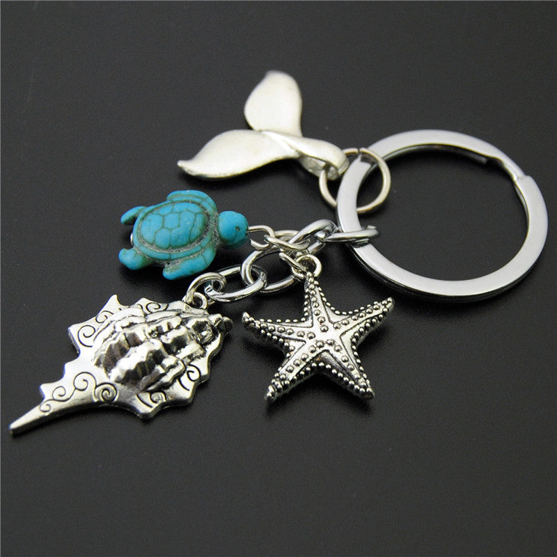 Ocean Themed Key Ring ~Conch, Whale Tail, Star, Turtle