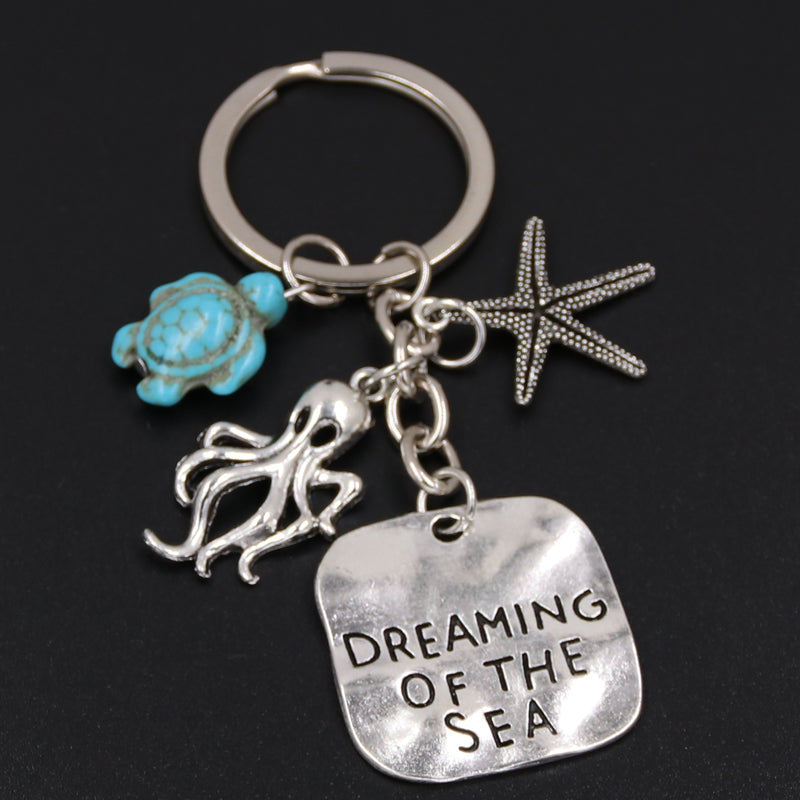 Dreaming Of The Sea Key Ring ~ Star, Octopus, Turtle