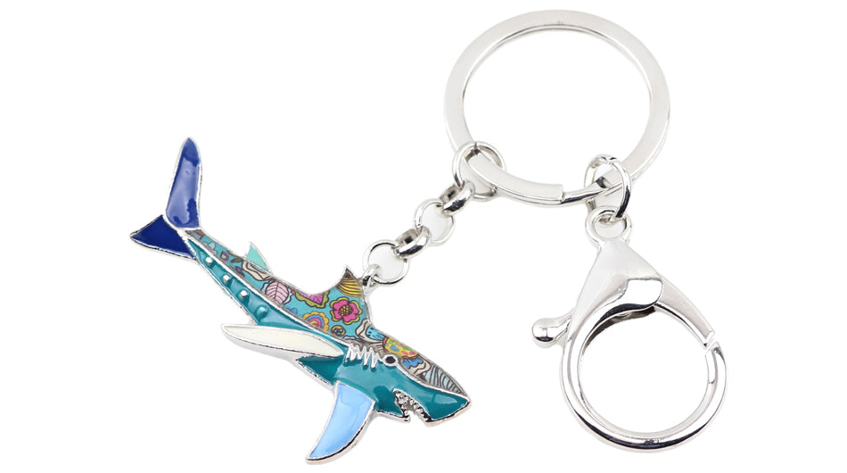 Arty Shark Key Ring ~ Multicolored Enamel