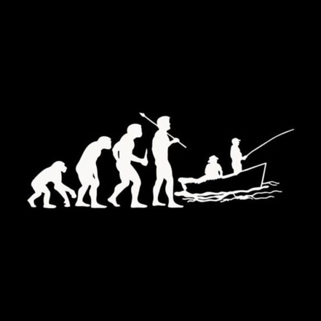 Evolution Of The Boat Fisherman ~ Decal