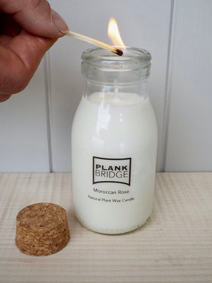 Moroccan Rose Scented Milk Bottle Candle