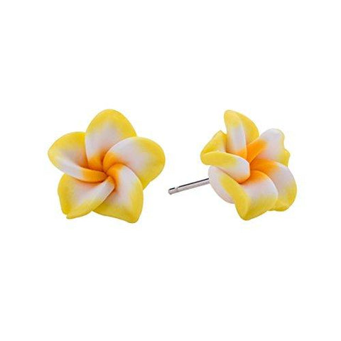Hawaiian Foam Artificial Plumeria Earrings Set for Little Girls Kids- Flower Stud Earrings Made of Polymer Clay, Children's Jewelry Set of 6