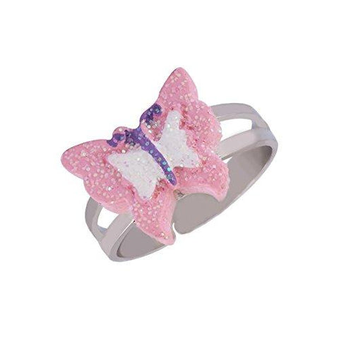 Adjustable Ring for Girls Kids - Handmade Painted Cute Unicorn Butterfly Rings, Children Jewelry Set Of 5