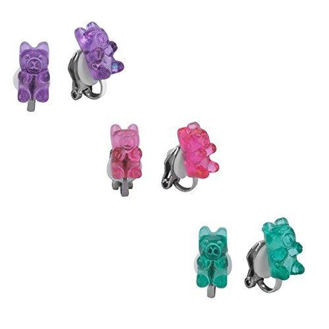 Clip-ons Earrings Set for Girls, Colorful Gummy Bear Earrings for Kids, Children Jewelry Set Of 3