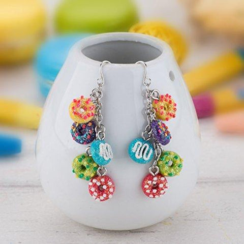 Drop Earrings for girls - Donut Drop Earrings for kids Made of Polymer Clay Children's Fashion Jewelry