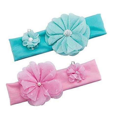 Baby Girls Chiffon Flower Headbands Turban & Hair Clips Set of 6, Girl's Hairbands for Newborn,Toddler and Kids Hair Accessories