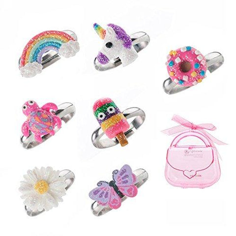 Adjustable Rings Set for Little Girls Colorful Cute Polymer Clay Children's Jewelry Set of 7