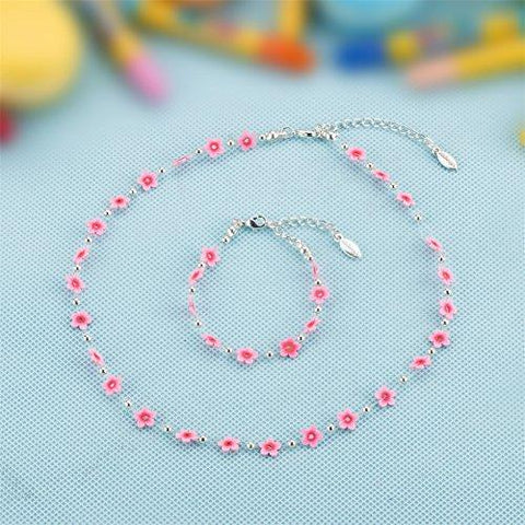 minihope Jewelry For Kids, Flower Shape Necklace and Bracelet Set for Little Girls and Childrens