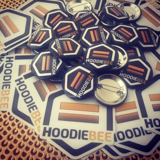 HoodieBee.com Honey Sticker n Pin combo