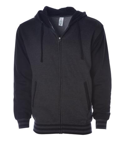 Unisex Hornet Varsity Zip Up Hoodie Black