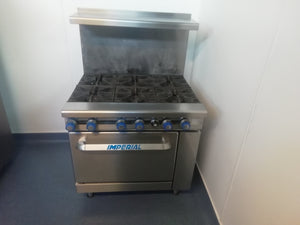 Imperial IR6 Heavy Duty 6 Burner Range Cooker Natural Gas Splashback & Overshelf (Reconditioned)