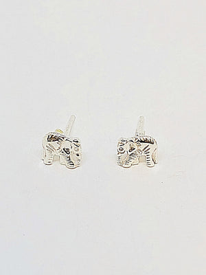 Silver 3d Elephant Body Earrings