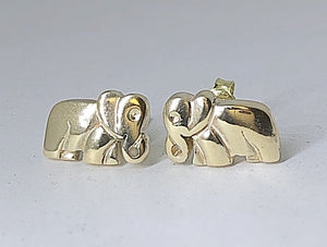 Gold Flat Body Elephant Earings