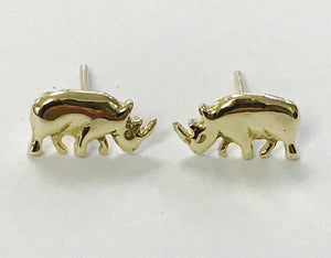Gold Flat Body Rhino Earrings