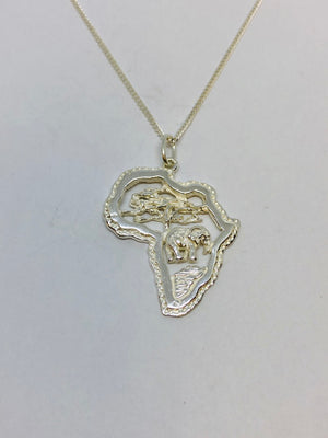 Silver Detailed African Map Pendant with Chain
