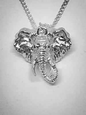 Silver Twisted Trunk Elephant Head Pendant with Chain