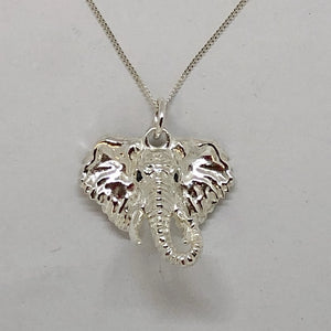 Silver Twisted Trunk Elephant Head Pendant with 2 Black Diamond Eyes and  Chain