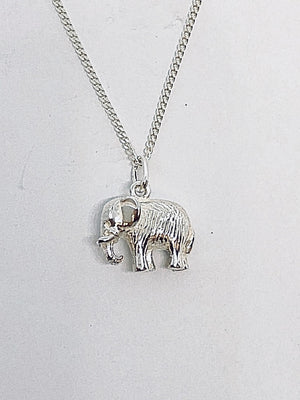 Silver Single Solid 3d Elephant Pendant with Chain