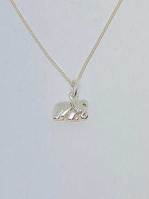 Silver Single Elephant Body Pendant with Chain