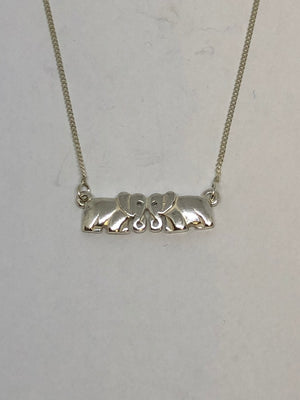 Silver Double Elephant Body Pendant with Chain