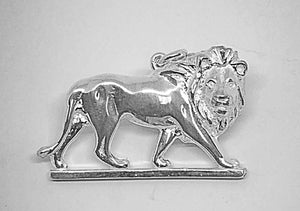 Silver Walking African Lion Pendant with Chain