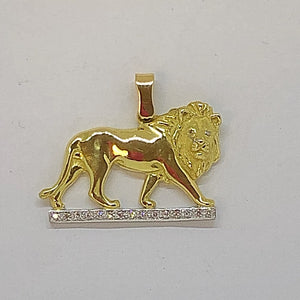 Gold Walking African Lion Pendant