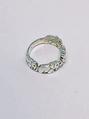 Silver Four Elephant Family Ring