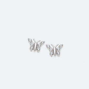 Silver Butterfly Earrings With Cubic Zirconias