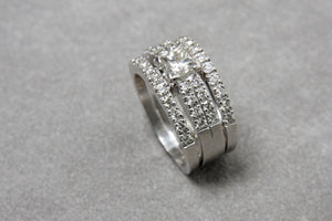 White Gold Engagement Ring Set with Wedding Bands