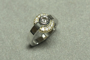 White and Yellow Gold Engagement Ring Set