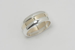 White and Yellow Gold Mens Wedding Ring