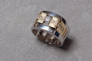 White and Yellow Gold Mens Ring Set