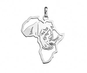 Silver African Map with Rhino Detail Pendant