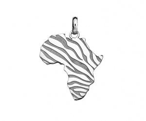 Silver African Map with Zebra Detail
