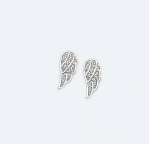 Silver Angel Wing Earrings With Cubic Zirconias