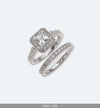 Silver Wedding Ring Set with Cubic Zirconia and Eternity Band