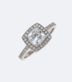 Silver Wedding Bridal Ring with Cubic Zirconia